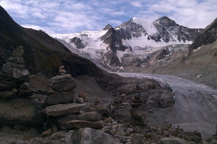 View of Cabane de Moiry and the Moiry glacier from the moraine