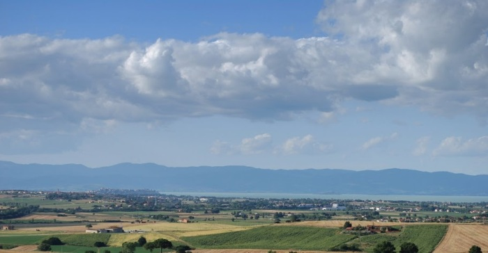 The view towards Castiglione del Lago and Trasimeno.