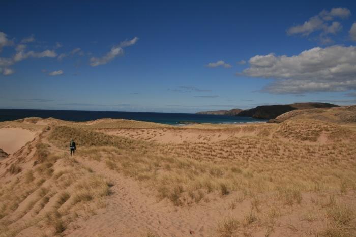Approaching Sandwood Bay, walking through the dunes